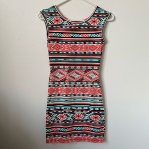 Fitted Aztec dress with cut out detail